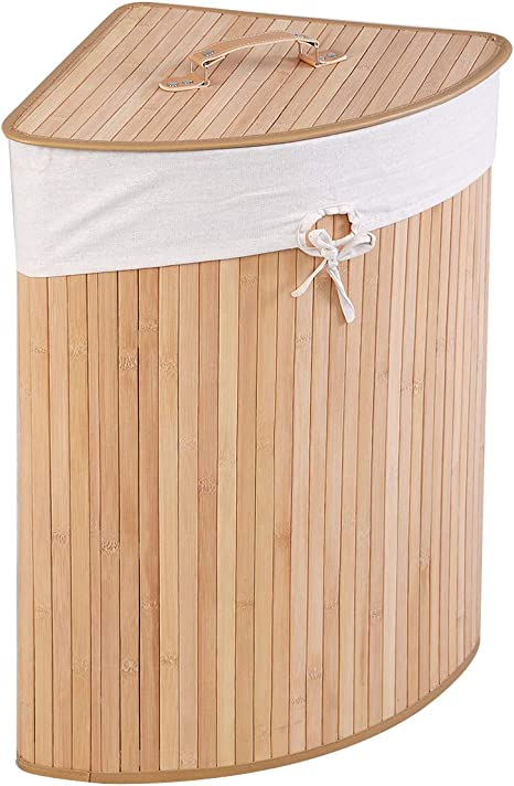 Amazon Com Goflame Corner Bamboo Laundry Hamper With Lid And Removable Liner Washing Clothes Basket Storage Bin With Handle Suitable For Bedroom Bathroom Laundry Natural Home Improvement