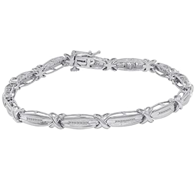 diamond ags certified tw tennis silver sterling com in amazon dp bracelet baguette