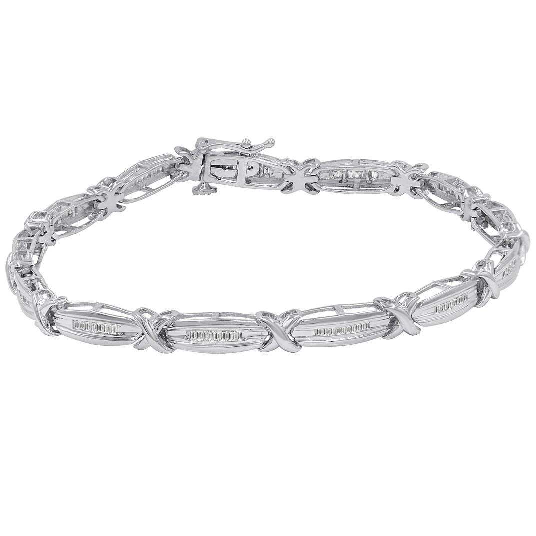 AGS Certified 1/2ct TW Baguette Diamond Tennis Bracelet in Sterling Silver