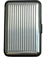 Shopping-et-Mode - Porte-cartes gris argenté rigide en plastique strié à multiples rangements - Argent, Plastique