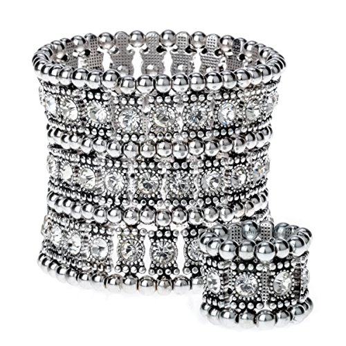 YACQ Jewelry Women's Multilayer Crystal Stretch Bracelet Ring ()