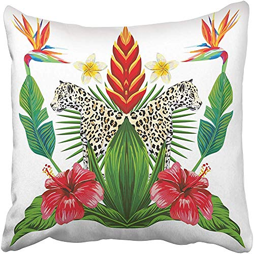 - Throw Pillow Cover Polyester 18 X 18 Inches Composition of Tropical Bouquet Hibiscus Flowers Bird Paradise Wild Animal Lioness Decorative Cushion Pillow Case Square Two Sides Print for Home