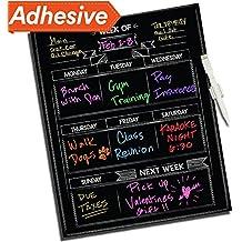"Dry Erase Chalkboard Wall Calendar - 16"" x 13"" - Refrigerator Home & Kitchen Sticker Menu Board - Non Magnetic Reusable Chalk Board Vinyl Decal - Black Fluorescent Custom Weekly Calendar Planner"