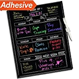 "Dry Erase Chalkboard Wall Calendar - 16"" x 13"" - Refrigerator Home & Kitchen Sticker Menu Board - Non Magnetic Reusable Chalk Board Vinyl Decal - Black Fluorescent Custom Weekly Calendar Planner"