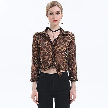 Cnsdy Camisas para Mujeres Camisas de Moda Camisas de Gasa Unisex Blusas de un Solo Pecho