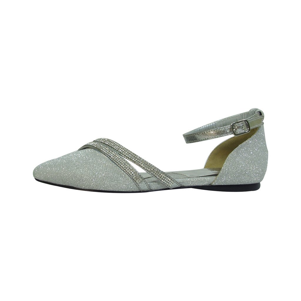 Fuzzy FIC Hallie Women Wide Width Pointed Toe Ankle Strap Dress Flats (Size/Measurement Guide Available) B01M0ZN9FU 5 E Silver