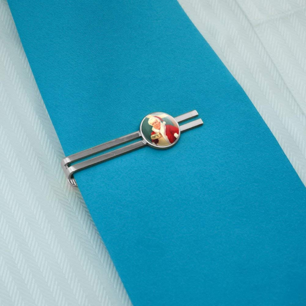 GRAPHICS /& MORE Santa Donald Trump with Naughty List Christmas Round Tie Bar Clip Clasp Tack Silver Color Plated
