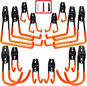 3-H Garage Hooks, Garage Storage Utility Hooks and Hangers 14 Pack, Heavy Duty Wall Mount Tool Holder for Organizing Power Tools, Ladders,Bikes,Ropes,Garden Hoses,Bulk items(Red 14pc)