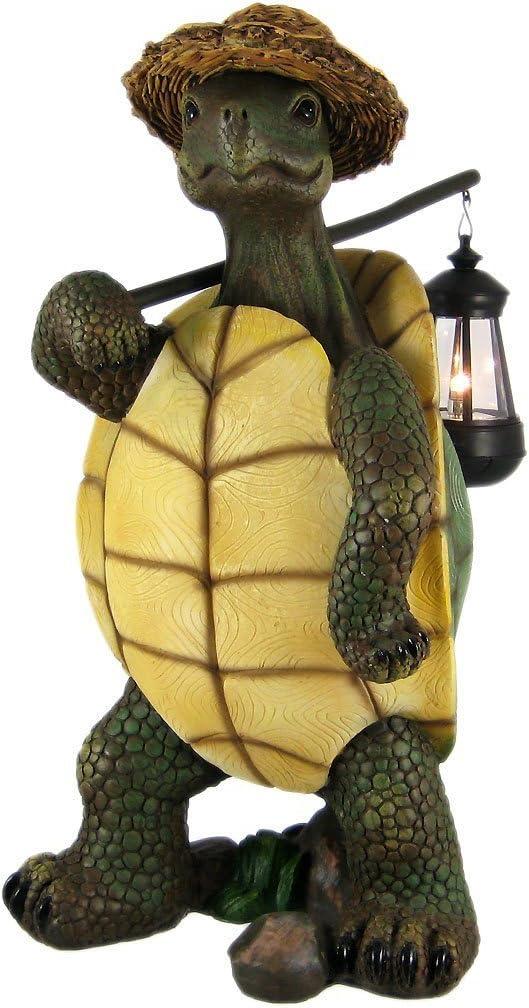 Turtle with Solar Light Lantern, Solar Turtle Statue Figurine