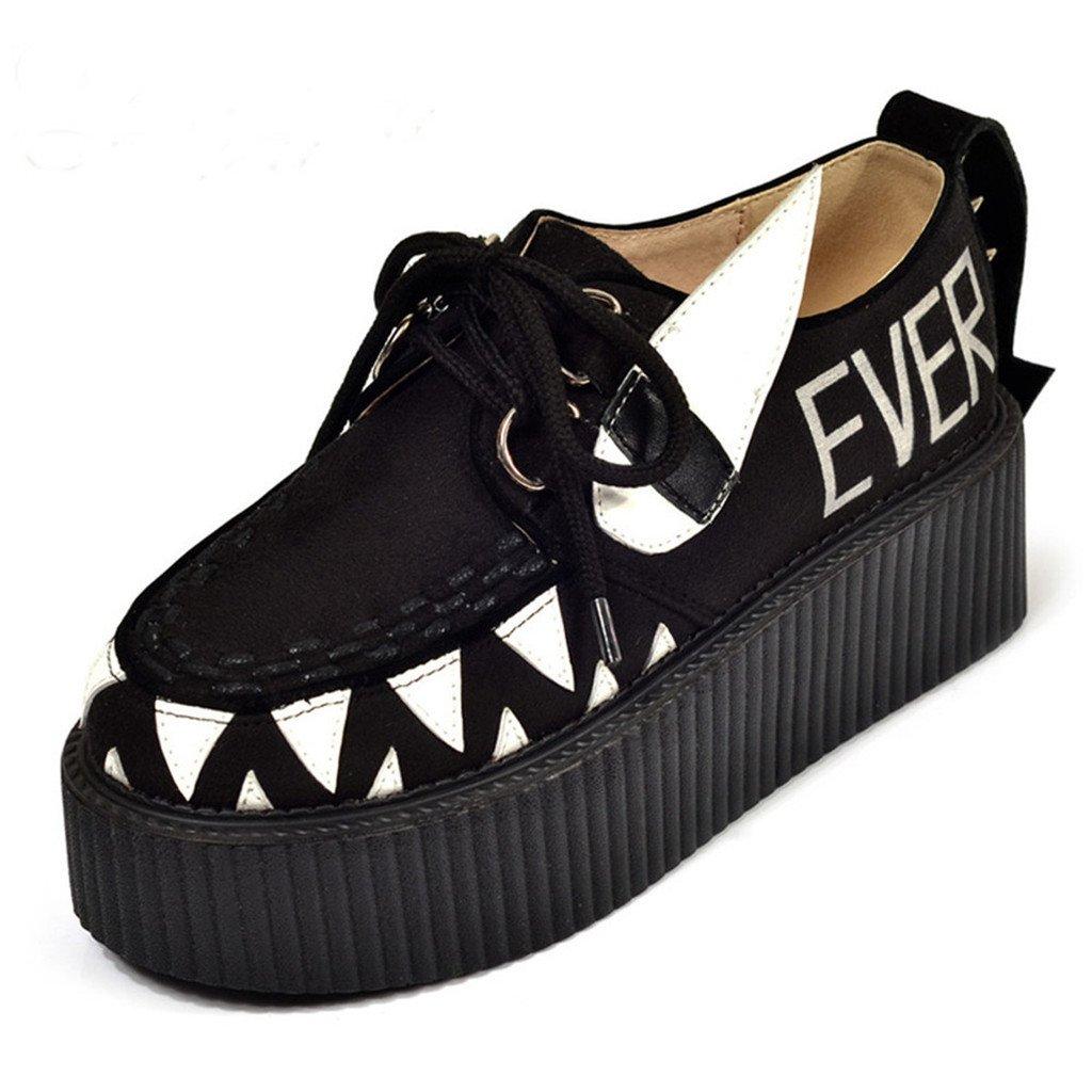 RoseG Fashion Women Creepers Punk Rivet Platform Flat Shoes Size8.5 by RoseG