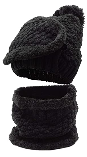 34e1c826d Winter Beanie Hat Scarf and Mask Set 3 Pieces Thick Warm Slouchy Knit Cap
