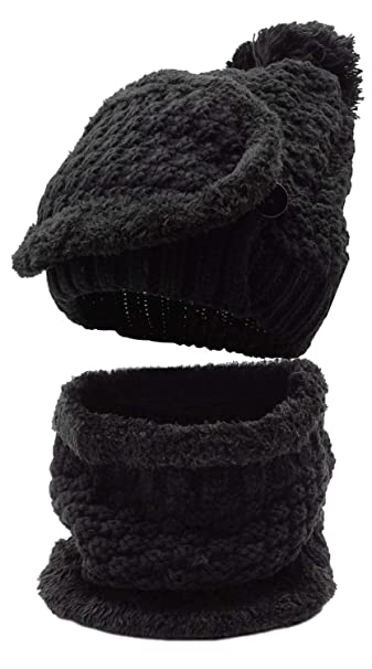 345ff1362b67 Winter Beanie Hat Scarf and Mask Set 3 Pieces Thick Warm Slouchy Knit Cap,  Black