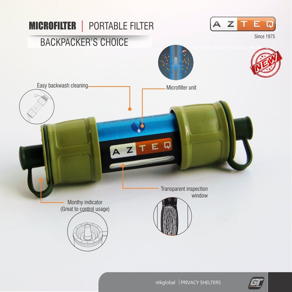 Azteq Microfilter Hiking Mini Portable Water Filtration,Personal On The Go Water Filter Reusable/Cleanable, Emergency Preparedness Kits for Travel & Backpacking, Camping and Survivalists.