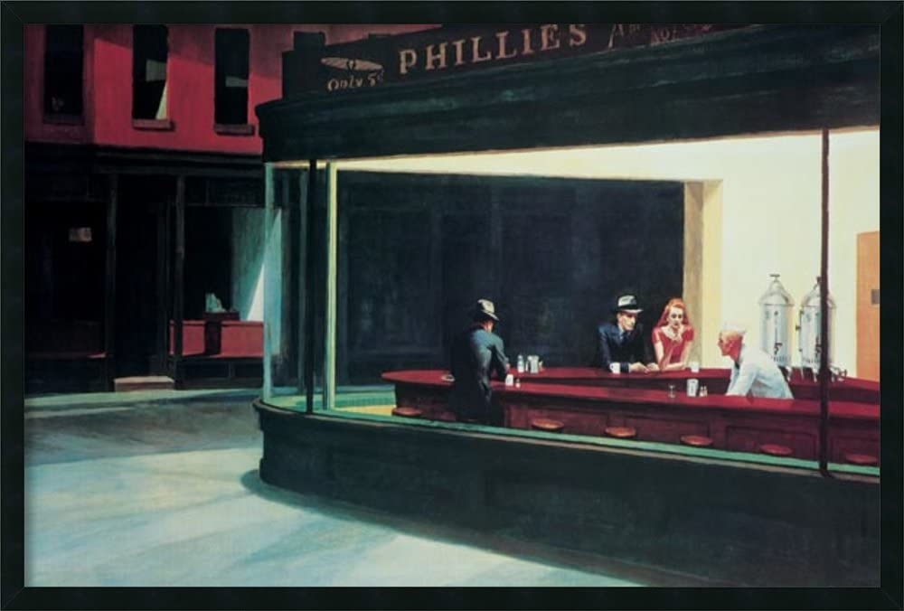 Framed Wall Art Print | Home Wall Decor Art Prints | Nighthawks, 1942 by Edward Hopper | Modern Decor Framed Art Print 37.25 x 25.25 in.