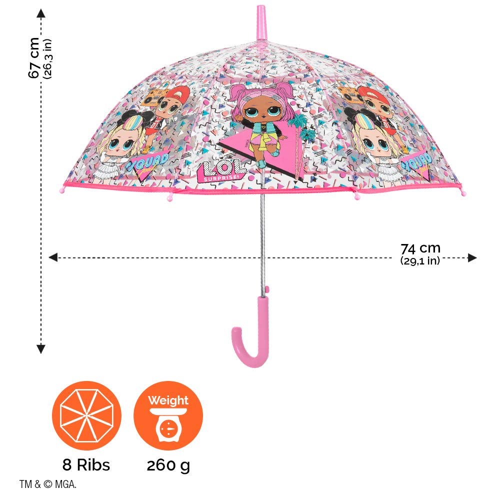 Paraguas Infantil Cupula Burbuja Rosa MC Swag VRQT 80s BB Paraguas Transparente LOL Surprise Ni/ña Perletti Antiviento Resistente de Fibra de Vidrio Automatico Seguro PoE 4//7 A/ños Diametro 74 cm