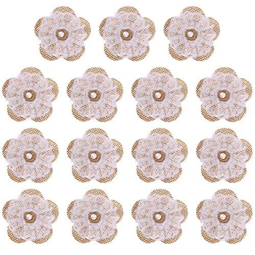 Pangda 15 Packs Handmade Burlap Lace Flowers Burlap Rose with Pearl for DIY Craft Making and Wedding Decorations