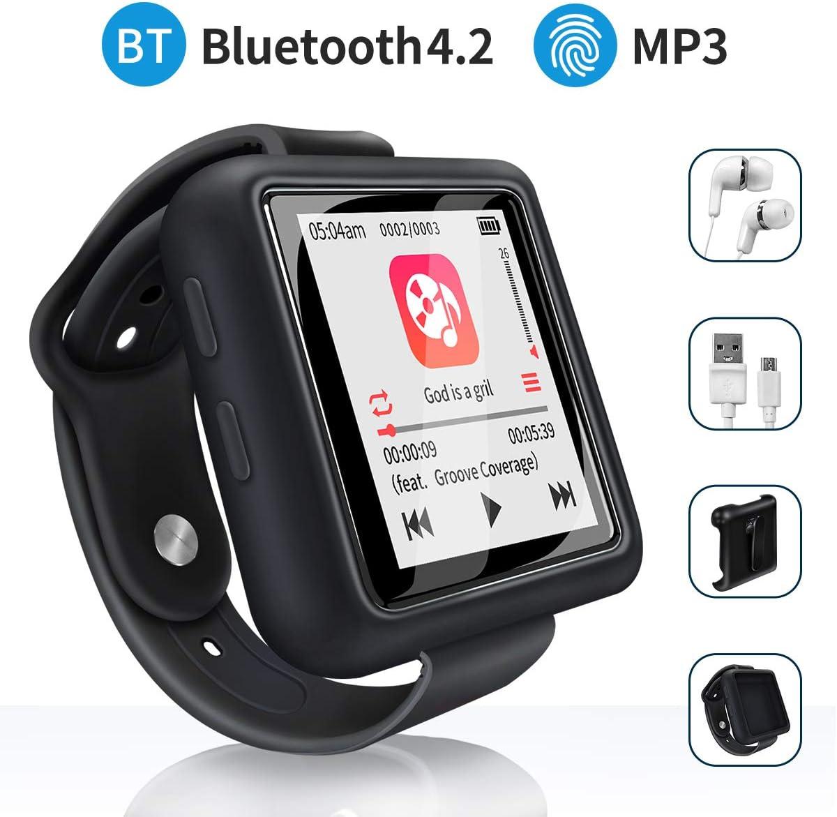 Mymahdi Sport Music Clip, Reproductor de MP3 Bluetooth de 8 GB con Radio FM/función de grabación de Voz, Negro con Pantalla táctil, máximo de hasta 128 GB