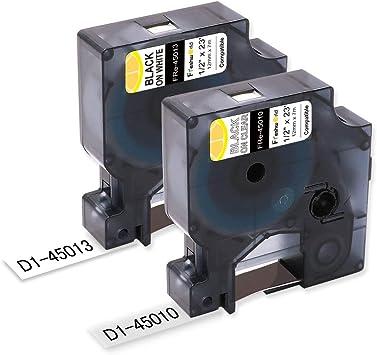 "2PK 45013 Black on White Label Tape For DYMO LabelPoint 150 350 250 200 300 1//2/"""