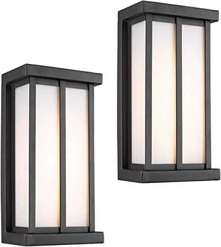 Emliviar Outside Porch Lights LED 2 Pack in Black Finish, 7W LED 450 Lumens, 3000K Warm White, 80017-2PK