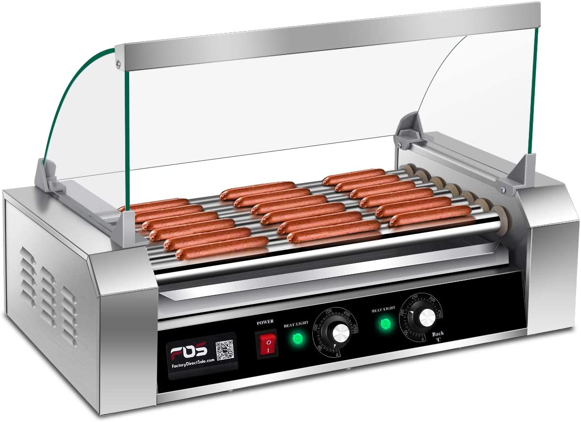 Giantex Electric Sausage Grill Hot Dog Grill Cooker 7 Rollers for 18 Hotdogs Stainless Steel Hot Dog Warmer Sausage Grilling Machine Sausage Roller Grill w Cover, Commercial Grade 1200W