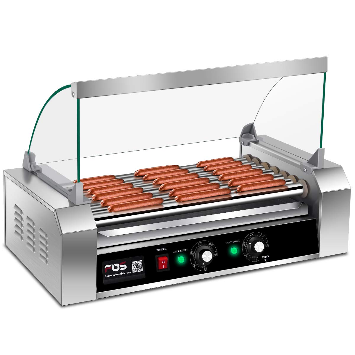 Giantex Electric Sausage Grill Hot Dog Grill Cooker 7 Rollers for 18 Hotdogs Stainless Steel Hot Dog Warmer Sausage Grilling Machine Sausage Roller Grill w/Cover, Commercial Grade 1200W by Giantex