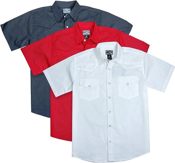 Men's Short Sleeve Solid Western Shirt