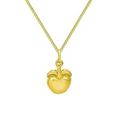 Amazon 14k yellow gold apple pendant necklace 16 inches box 14k yellow gold apple pendant necklace 16 inches box chain aloadofball Image collections
