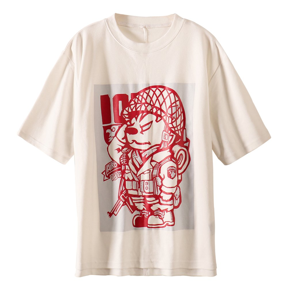 ATE 101 Airborne Division & Husky Dog Printed Womens Loose Summer Tops Tee Shirt(M)