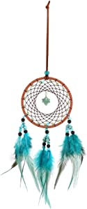 ACBungji Wish Stone Dream Catchers,Boho Feathers Wall Decor for Bedroom Nursery,Hanging Blue Magical Turquoise Gifts for Boys Girls,Dia 6 inch