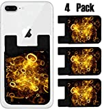 MSD Phone Card holder, sleeve/wallet for iPhone Samsung Android and all smartphones with removable microfiber screen cleaner Silicone card Caddy(4 Pack) Abstract orange digit background computer gener