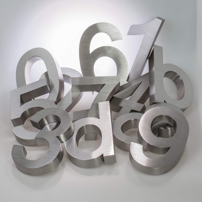 Tous les chiffres et lettres a argent Num/éros de maison en 3D 20 cm Acier inoxydable V2A argent/é R/ésistant aux intemp/éries