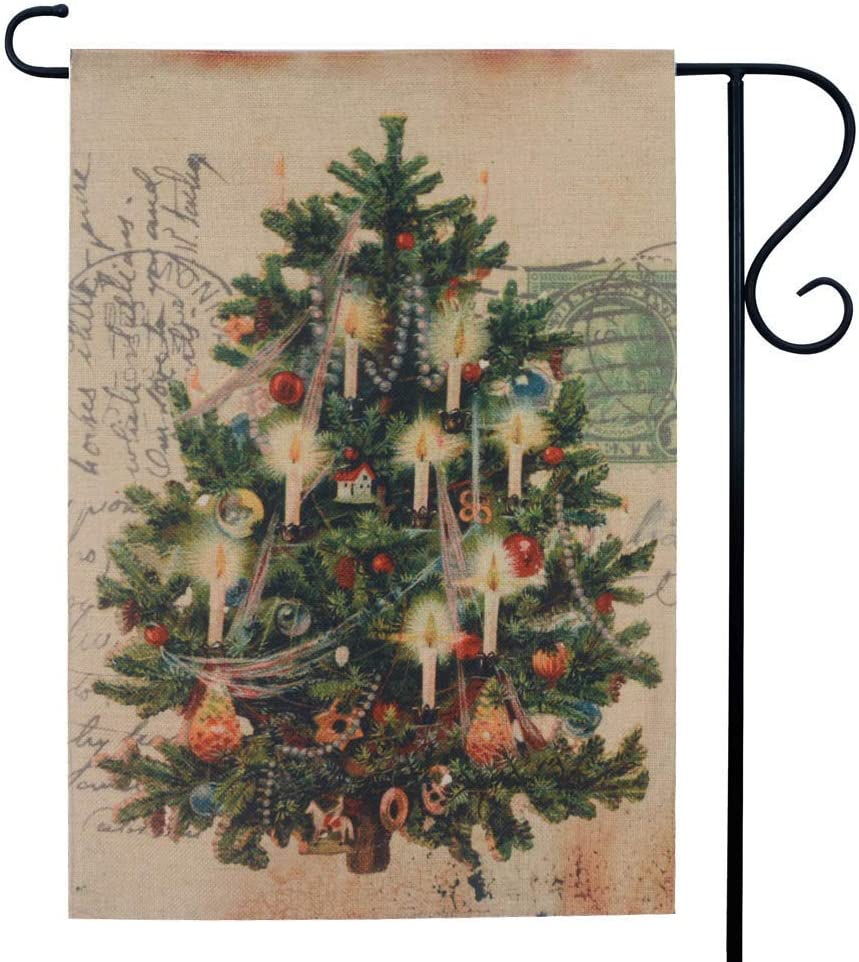 LINKWELL Antique Christmas Tree Garden Flag for Outside Double Sided 12.5 x 18 Inch Xmas Holiday Small Lawn Flag Yard Decor Outdoor Home Decorations GF23