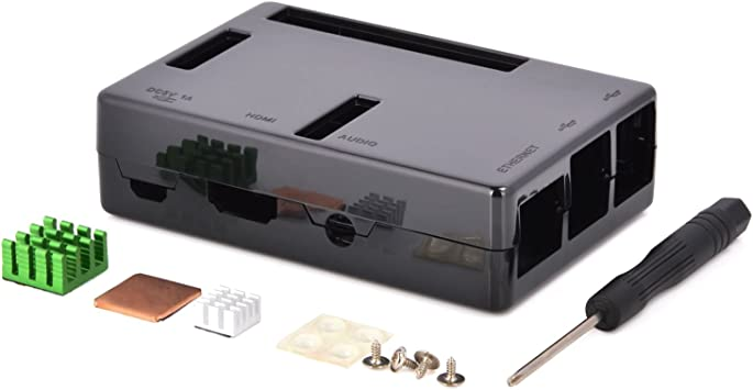 Aukru Caja Negro para Raspberry pi 3 Model B+ con 3X Disipador De ...