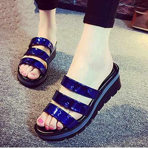 de Sandalias Wedge de Azul Dedo la Mujeres Anti Abierto del del Glitter de Slip pie la Sandalias Diapositiva Las Plataforma Zapatillas Summer PxRpqHq