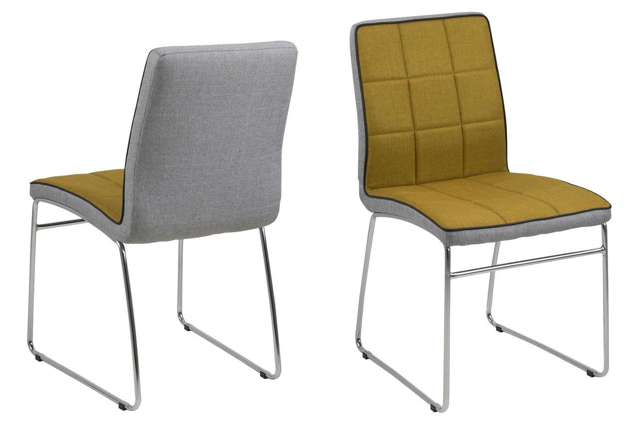 12 X Esszimmerstuhl Stoff Gelb Mit Chromgestell Moderner Stuhl