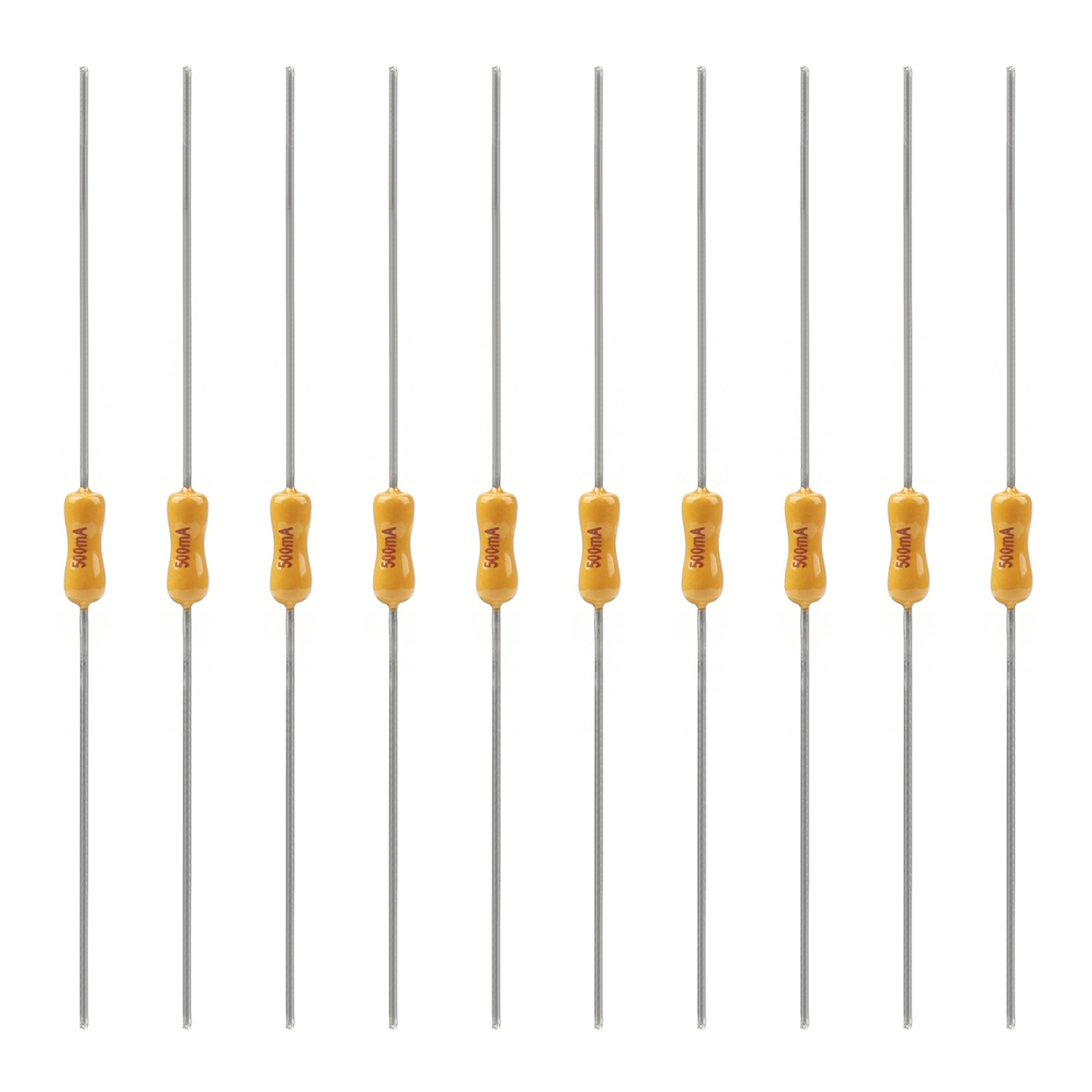 Areyourshop 10Pcs Yellow Ceramic Resistor Fuse Time-Lag Metal Axial Lead Fuse 2.4x7mm 0.5A