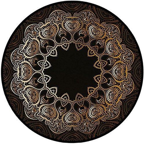 - Printing Round Rug,Gold Mandala,Ring Shaped Mandala with Blossoms and Hearts Tribal Sacred Elements Decorative Mat Non-Slip Soft Entrance Mat Door Floor Rug Area Rug For Chair Living Room,Gold Black Y