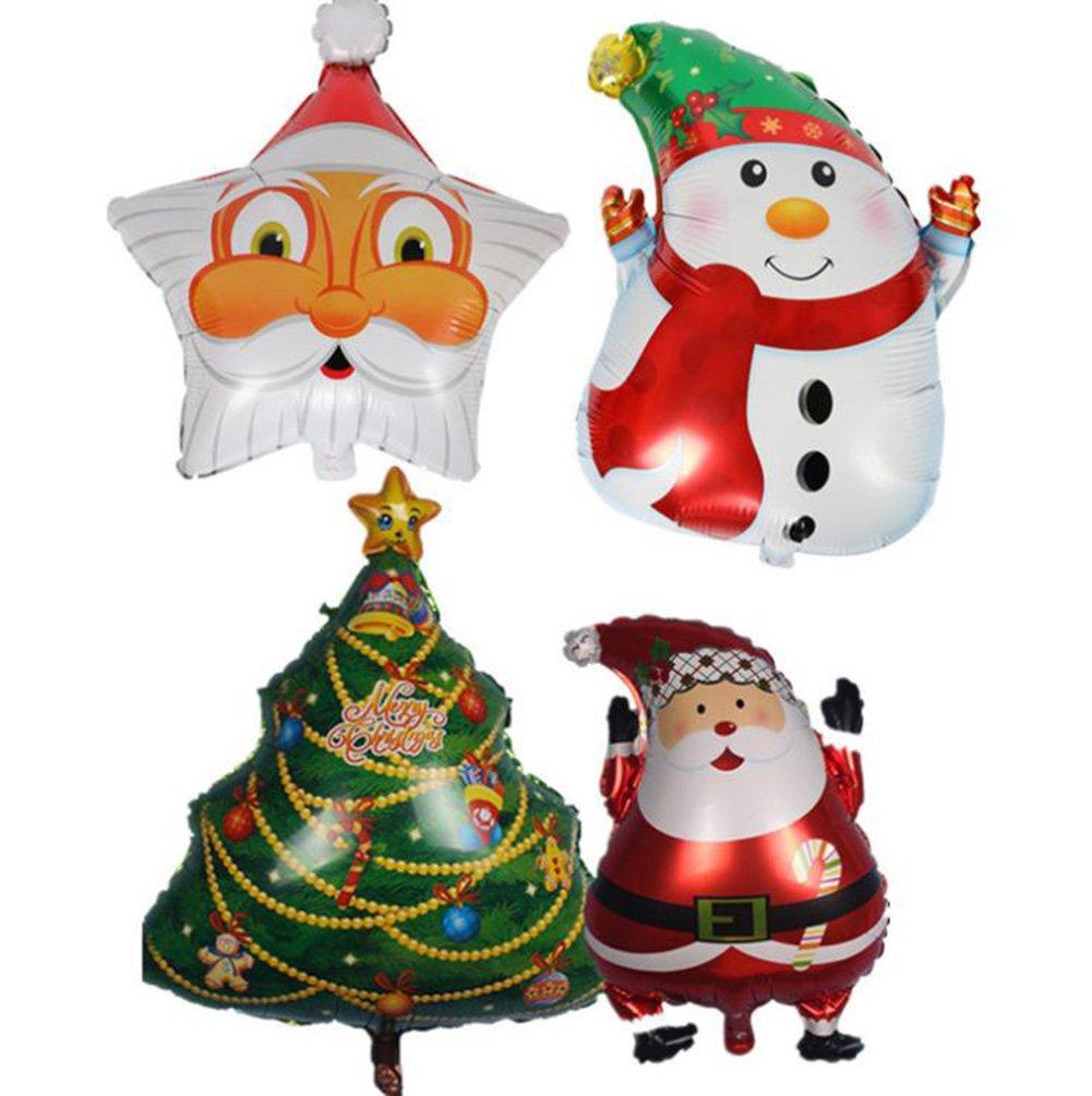 Gespout 4x Ballon de Noël Ballons d'aluminium Le père Noël de motif Arbre de Noël Dessin de ballonnet Bonhomme de neige Décoration Fête de Celebration