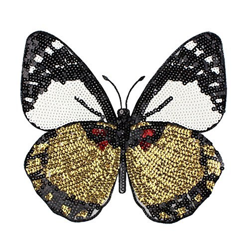 Toonol Sew on Sequined Patch Animal Butterfly Sequin Patches Stickers for Clothes DIY Craft Sewing Supplies 22 x 22CM (Animal Butterfly Applique)