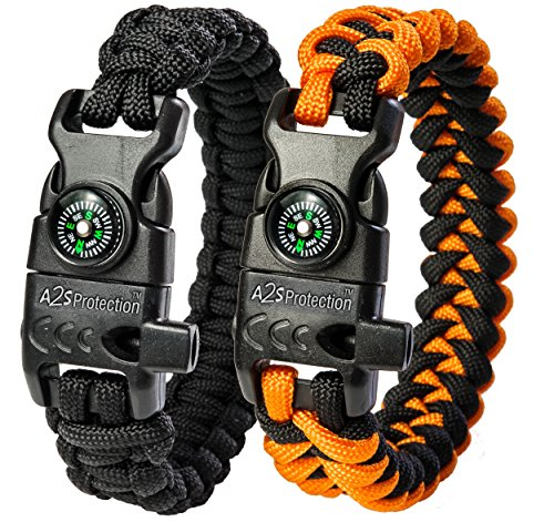 A2S Protection Paracord Bracelet K2-Peak – Survival Gear Kit with Embedded Compass, Fire Starter, Emergency Knife & Whistle (Black / Orange 7.5