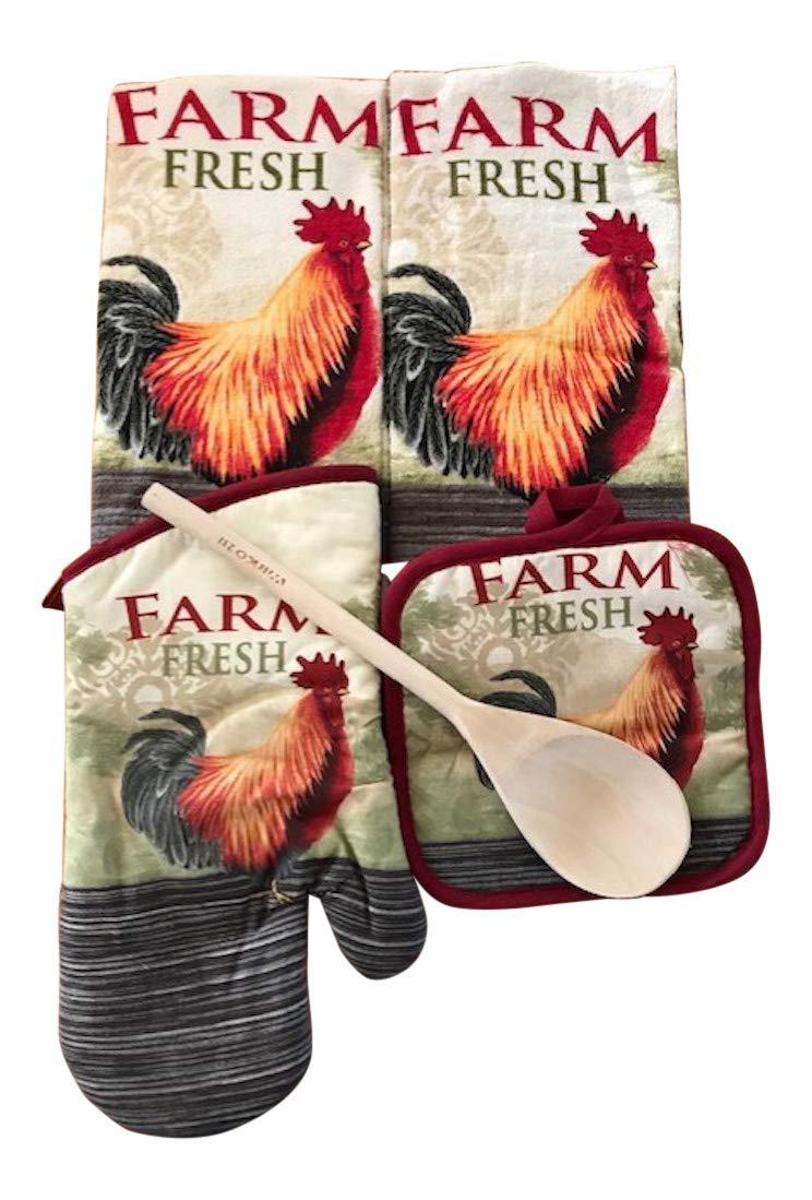 Rooster Chicken Kitchen Towel Set Green, Burgundy 6 Piece Set, Dish Towel, Oven Mitt, Pot Holders & Wooden Spoon