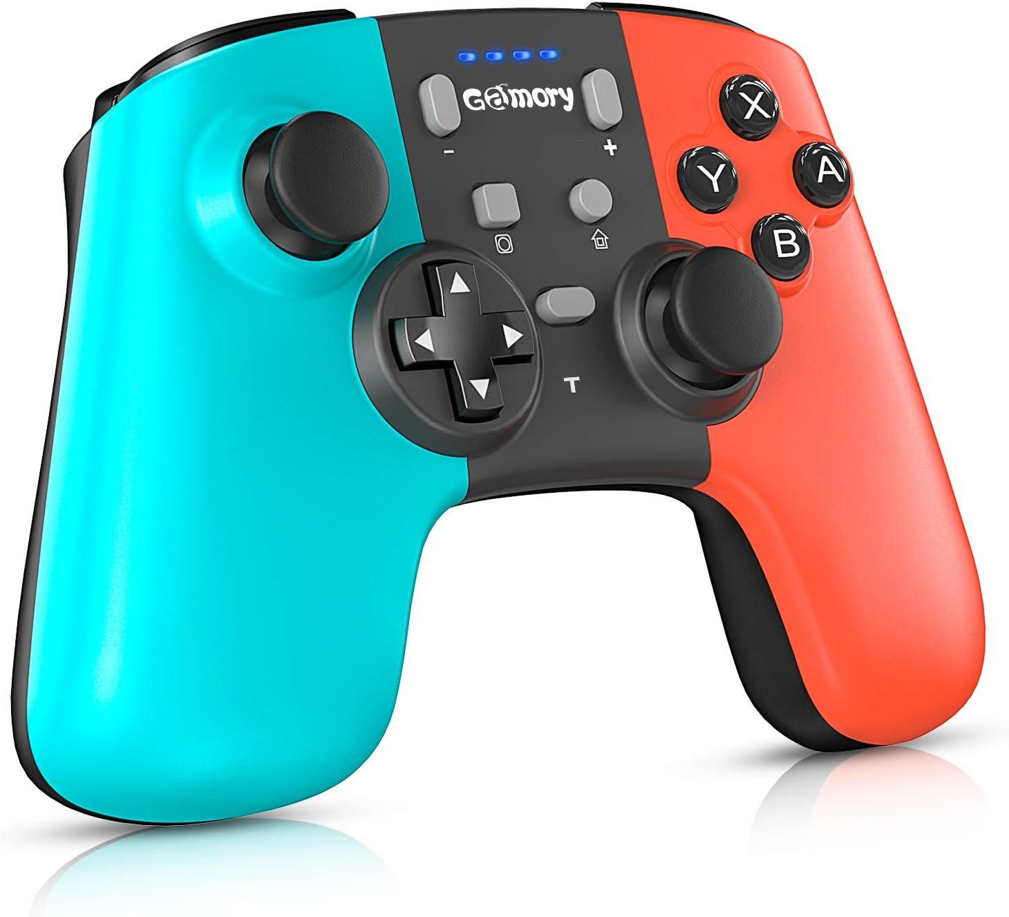 Gamory Mando para Nintendo Switch,Mando Pro Controller Mando pc Inalambrico,Bluetooth Inalámbricos pro Nintendo Switch Gamepad controlador con Turbo Dual Shock Gyro Axi ajustable