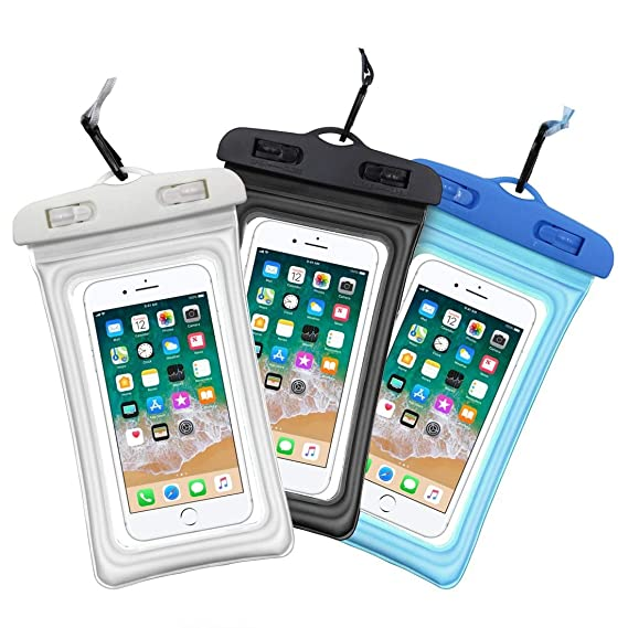 promo code cffa7 98597 Waterproof Phone Pouch, 3 Pack Universal Floating Waterproof Phone Case,  IPX8 Transparent TPU Waterproof Cell Phone Pouch Dry Bag with Lanyard Up to  ...