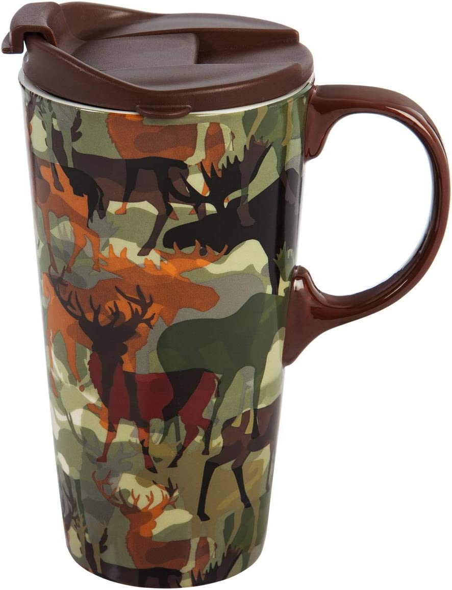 Cypress Home Beautiful Woodland Camouflage Ceramic Travel Cup with Matching Box - 4 x 5 x 7 Inches Indoor/Outdoor home goods For Kitchens, Parties and Homes