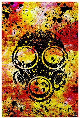 Nazi Halloween Costumes (JSC209 Gas Mask Splash Art Poster | 18-Inches By 12-Inches | Premium 100lb Gloss Poster Paper)