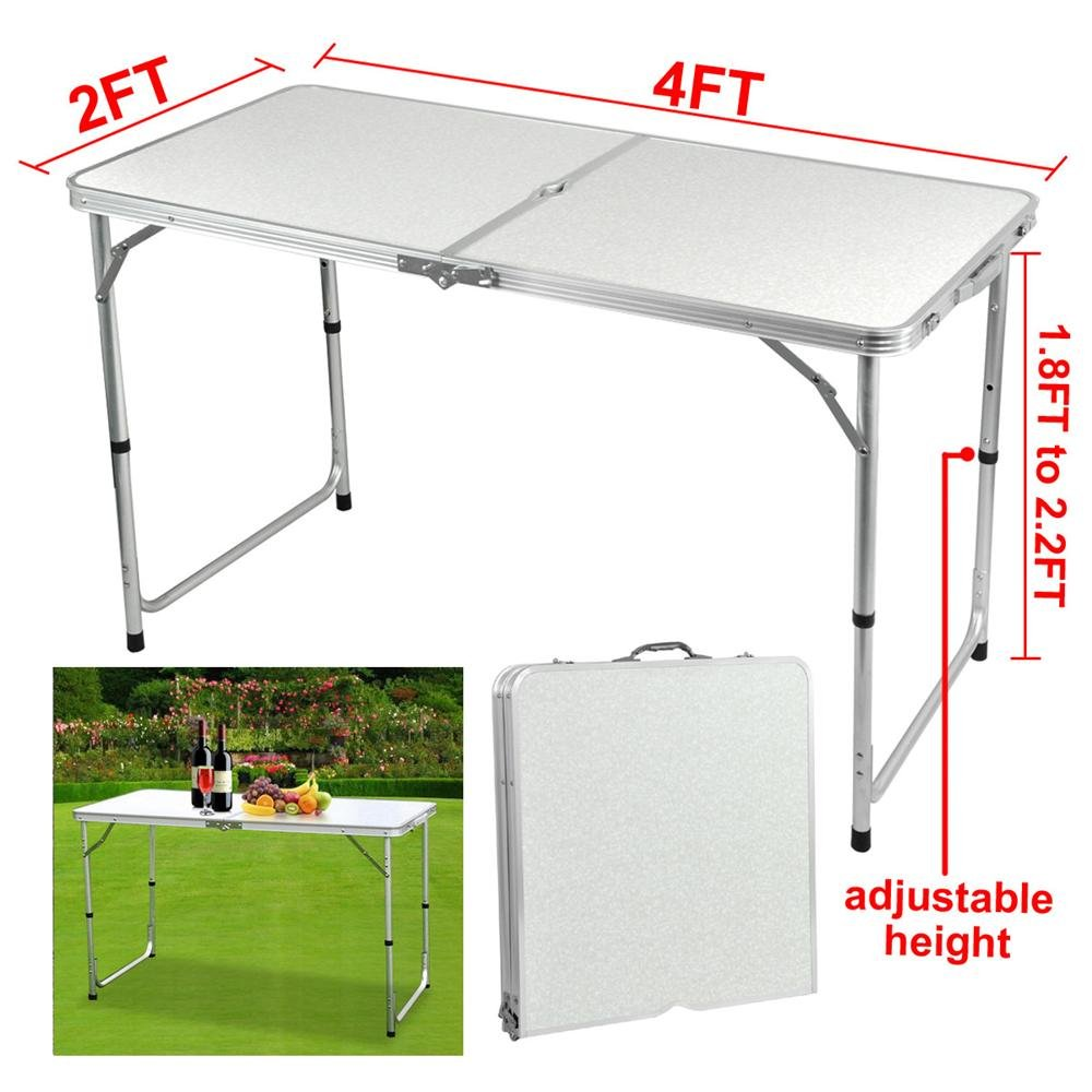 4 foot adjustable height folding table - Amazon Com Yaheetech 4 Foot Aluminium Folding Portable Camping Picnic Party Dining Table Table Sports Outdoors
