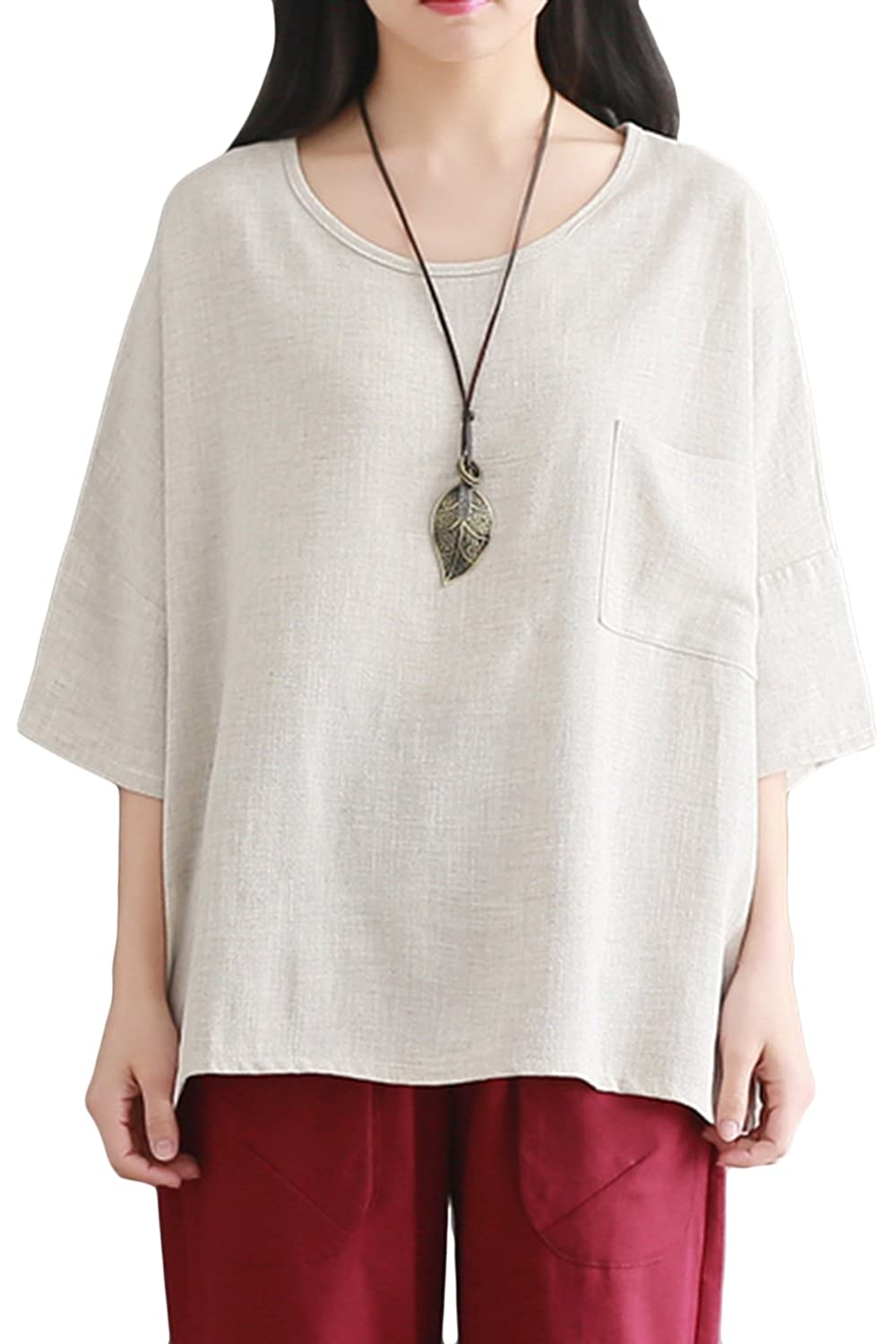 a53cbdbcc9de0 Asher fashion women summer loose fit half sleeve linen tops blouses shirts  one size beige at