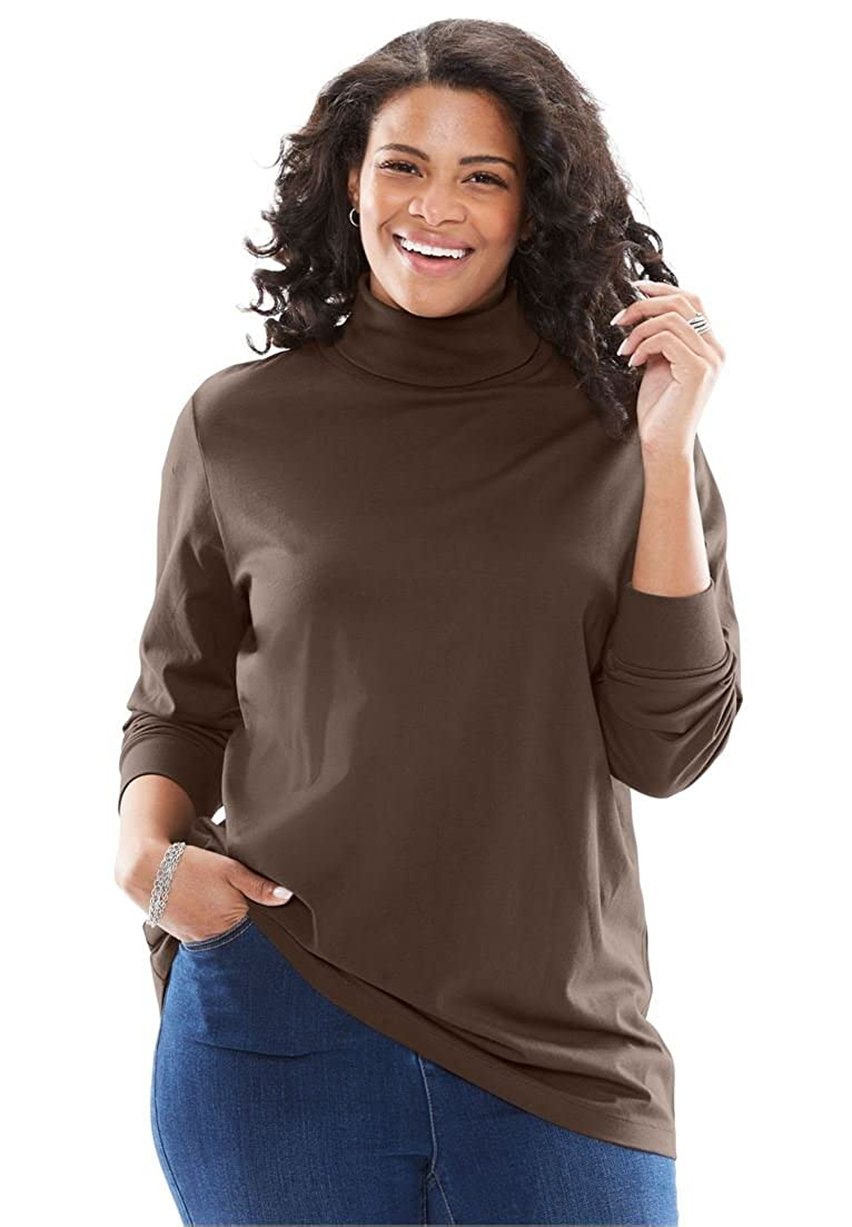 72fd60f7c92 Woman Within Plus Size Perfect Long Sleeve Turtleneck at Amazon Women s  Clothing store