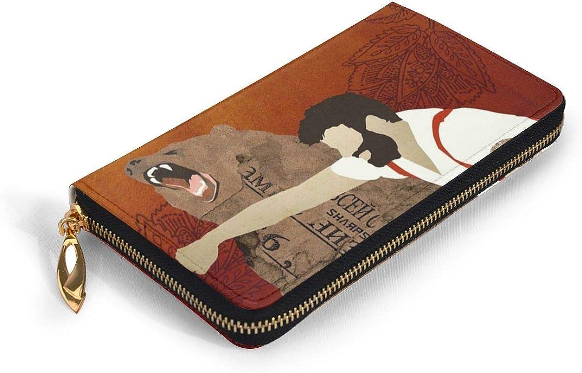 Lumberjack Punching Bear Wallets For Men Women Long Leather Checkbook Card Holder Purse Zipper Buckle Elegant Clutch Ladies Coin Purse