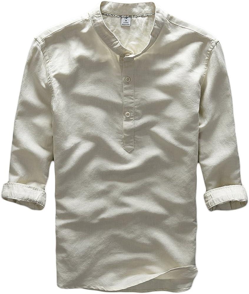 ICEGREY - Camiseta - cuello mao - manga 3/4 - para hombre amarillo 42: Amazon.es: Ropa y accesorios